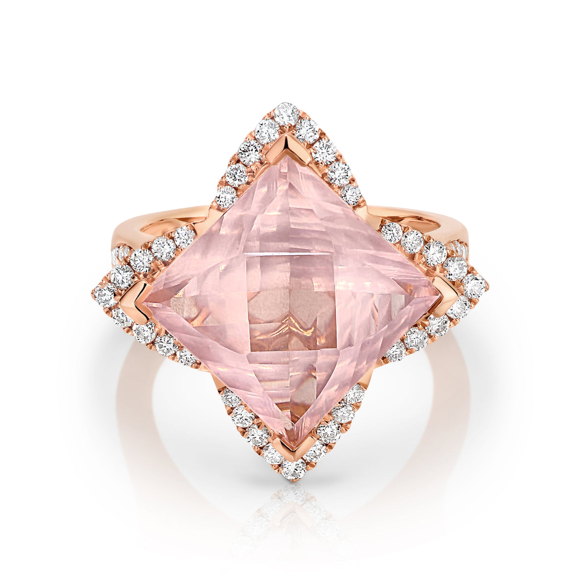 Rose Quartz & Diamond 'Nora' Ring - Gemma Stone  ABN:51 621 127 866