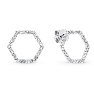 Hexagonal Diamond Studs - Gemma Stone Jewellery