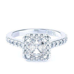 Asscher Cut Diamond Halo 'Sierra' Ring with diamond band - Gemma Stone Jewellery