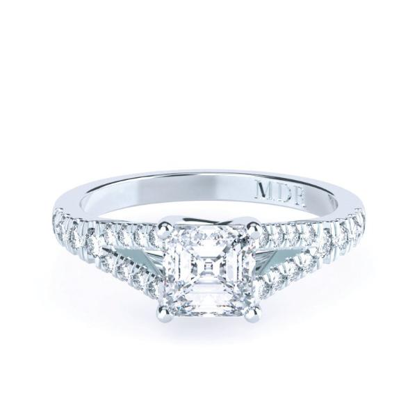 Asscher Cut Diamond Solitaire 'Palazzo' Ring with split diamond band - Gemma Stone  ABN:51 621 127 866