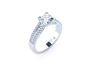 Asscher Cut Diamond Solitaire 'Darci' Ring with diamond band - Gemma Stone  ABN:51 621 127 866