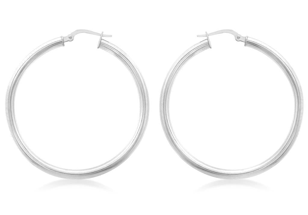 9ct White Gold 40mm Hoop Earrings - Gemma Stone Jewellery