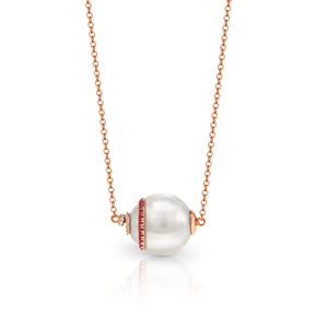 UNIPearl South Sea Pearl with Diamond and Ruby Necklace - Gemma Stone Jewellery
