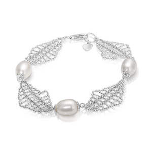 "The ""Alexandra"" Silver and Pearl Bracelet - Gemma Stone Jewellery"