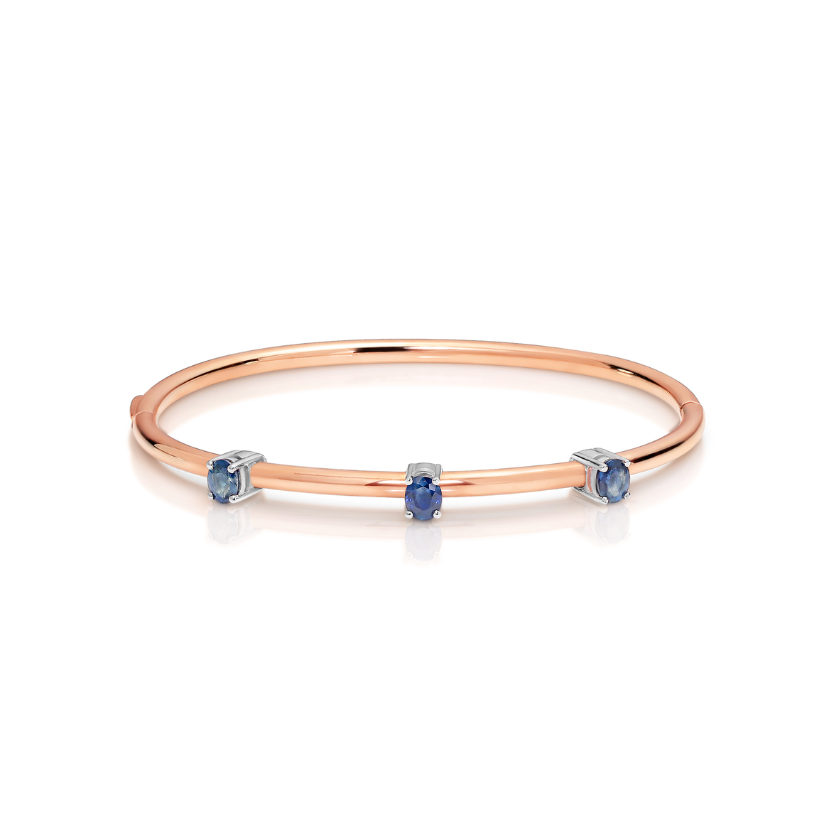 Gold Plated,  Blue Sapphire 'Movida' Bangle - Gemma Stone Jewellery
