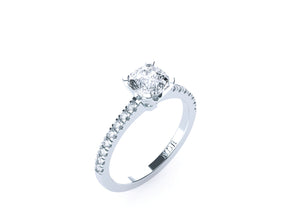 Cushion Cut Diamond Solitaire 'Cara' Ring with diamond band - Gemma Stone  ABN:51 621 127 866