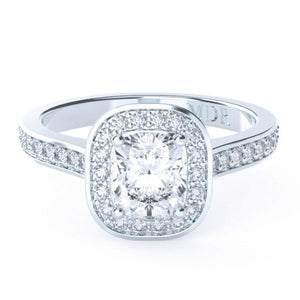 Cushion Cut Diamond Bezel set Halo 'Sia' Ring with diamond band - Gemma Stone  ABN:51 621 127 866