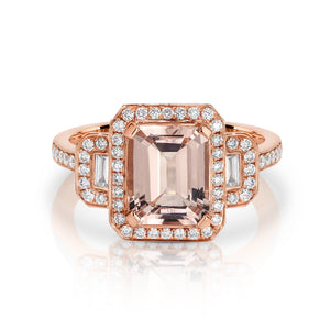 Rose Gold, Morganite and Diamond 'Eden' Ring - Gemma Stone Jewellery