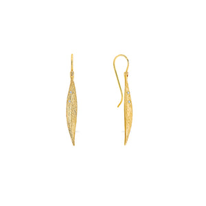 9ct Gold Textured Leaf Drop Diamond Earrings - Gemma Stone  ABN:51 621 127 866