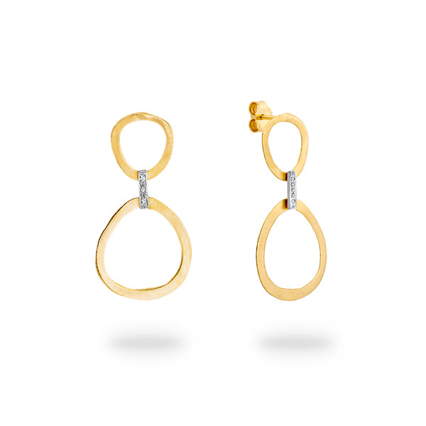 9ct Gold Double Circle Drop Earrings - Gemma Stone Jewellery