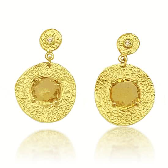 'Roma' Citrine and Diamond Earrings - Gemma Stone Jewellery