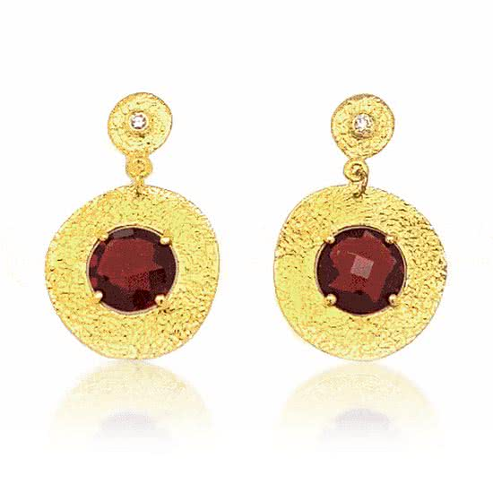'Roma' Rhodolite Garnet and Diamond Earrings - Gemma Stone  ABN:51 621 127 866