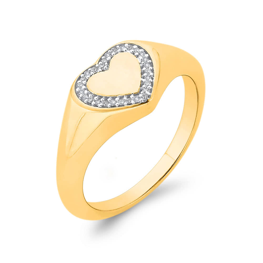 9ct Gold Diamond Heart Pinky Signet Ring.