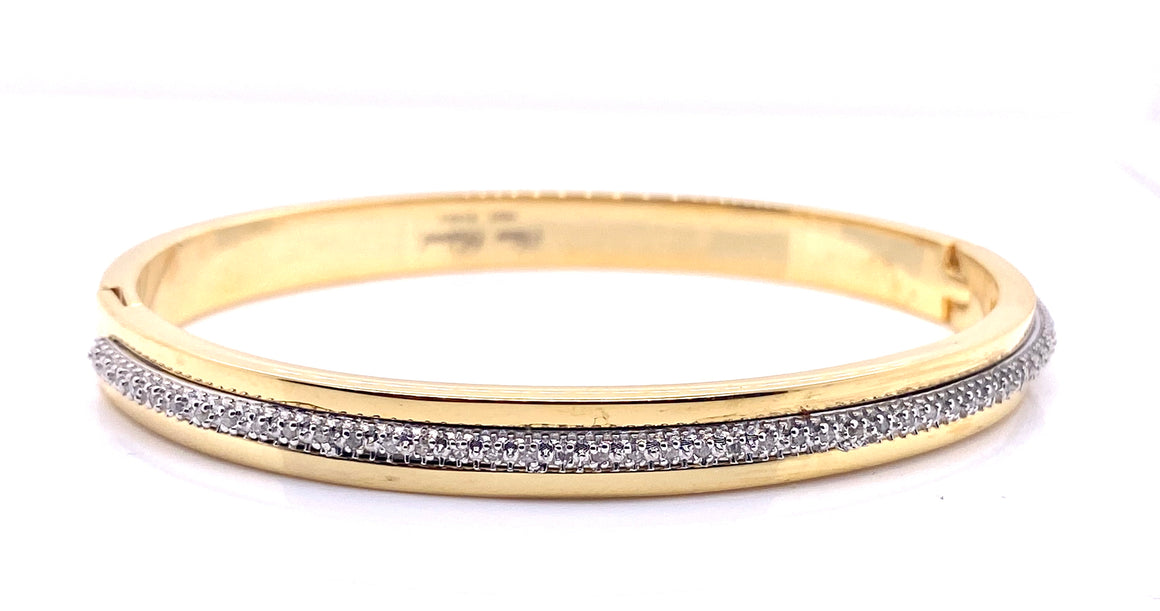 Gold Plated and Diamond Nigella Bangle - Gemma Stone Jewellery