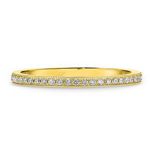 9ct Gold and Diamond Eternity Pave Band With Millgrain Edge