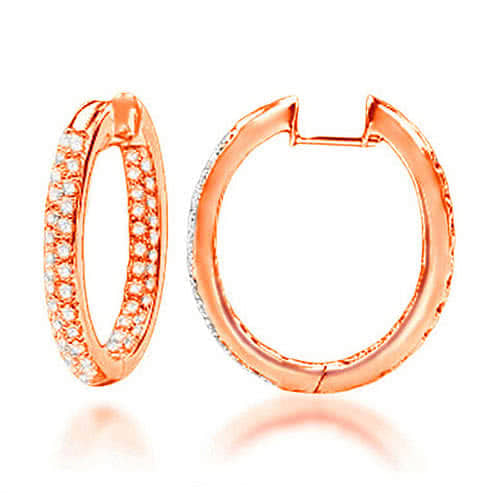"18ct Gold & Diamond ""Doublo"" Pave Hoop Earrings"