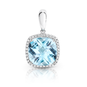 Blue Topaz & Diamond 'Bahama' Pendant and White Gold Trace Chain - Gemma Stone Jewellery