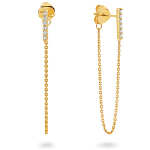 9ct Yellow Gold Bar Drop Pave Set Diamond Earrings - Gemma Stone Jewellery