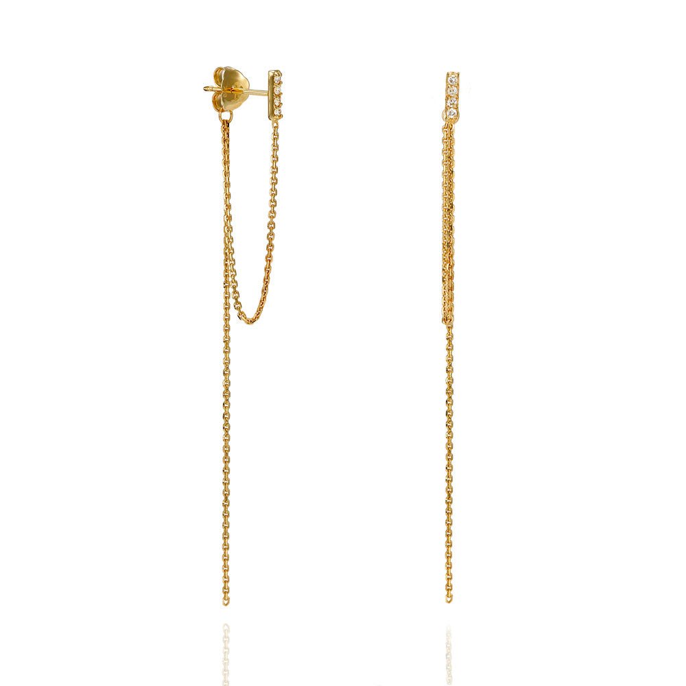 9ct Gold Bar Drop Diamond Chain Earrings - Gemma Stone Jewellery