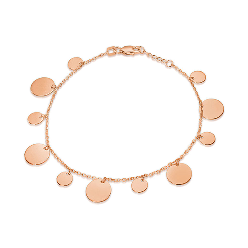 9ct Rose Gold Disc Bracelet
