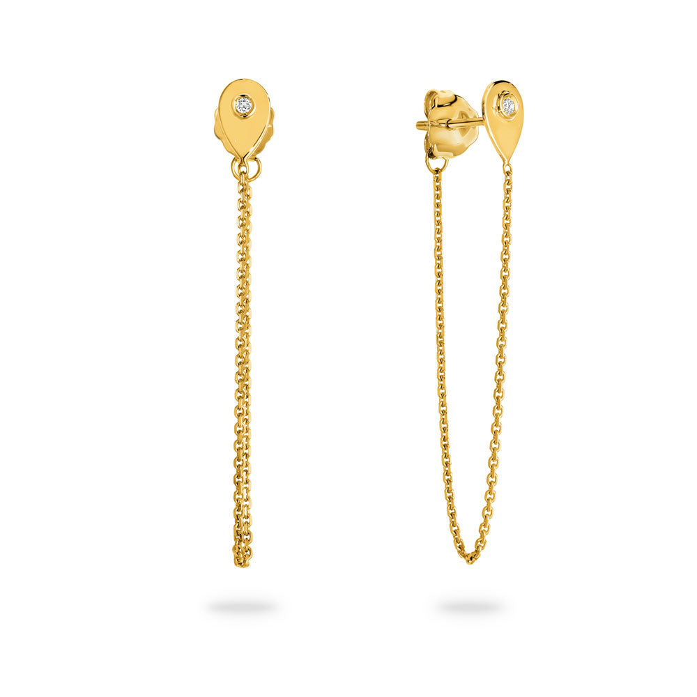 'Sibella' 9ct Gold and Diamond Chain Earrings