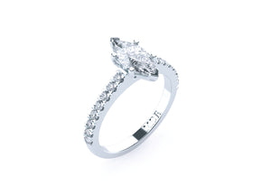 Marquise Diamond Solitaire 'Marilyn' Ring with diamond band - Gemma Stone Jewellery