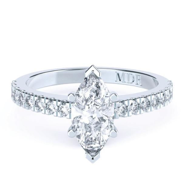 Marquise Diamond Solitaire 'Marilyn' Ring with diamond band - Gemma Stone  ABN:51 621 127 866