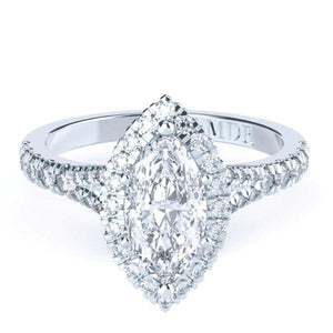 Marquise Diamond Halo 'Zaire' Ring with diamond band - Gemma Stone  ABN:51 621 127 866