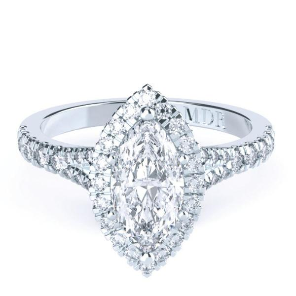 Marquise Diamond Halo 'Zaire' Ring with diamond band - Gemma Stone Jewellery