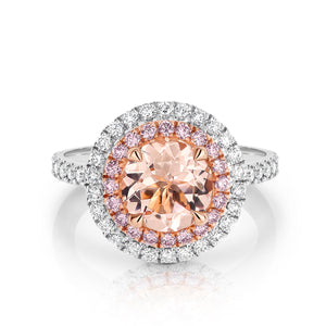 Morganite, Pink Diamond & White Diamond 'Harper' Ring - Gemma Stone  ABN:51 621 127 866