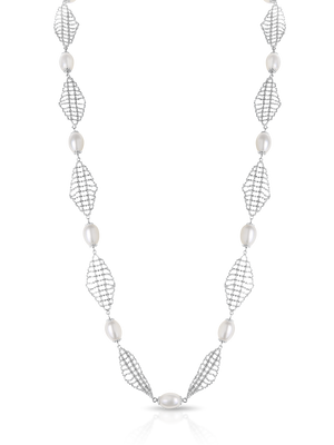 "The ""Alexandra"" Silver and Pearl Necklace - Gemma Stone Jewellery"