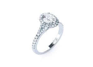 Oval Diamond 'Middleton'Halo Ring with diamond band - Gemma Stone  ABN:51 621 127 866