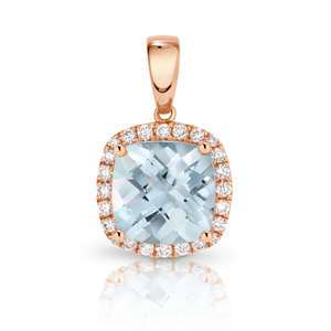 Aquamarine & Diamond 'Balmoral' Pendant and Rose Gold Trace Chain - Gemma Stone  ABN:51 621 127 866