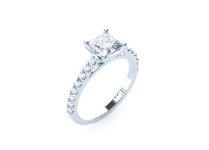 Princess Cut Diamond Solitaire' Tatyanna' Ring with diamond band - Gemma Stone Jewellery