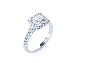 Princess Cut Diamond Halo 'Verona' Ring with diamond band - Gemma Stone  ABN:51 621 127 866