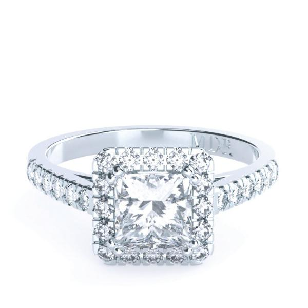 Princess Cut Diamond Halo 'Verona' Ring with diamond band - Gemma Stone Jewellery