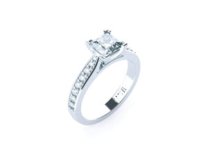 Princess Cut Diamond Solitaire 'Lucca' Ring with diamond band - Gemma Stone  ABN:51 621 127 866