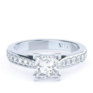 Princess Cut Diamond Solitaire 'Lucca' Ring with diamond band - Gemma Stone Jewellery
