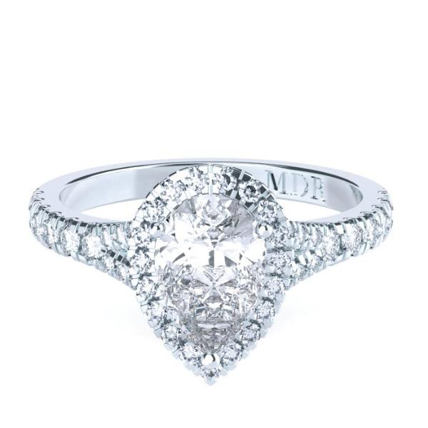 Pear Shaped Diamond Halo 'Jordan' Ring - Gemma Stone Jewellery