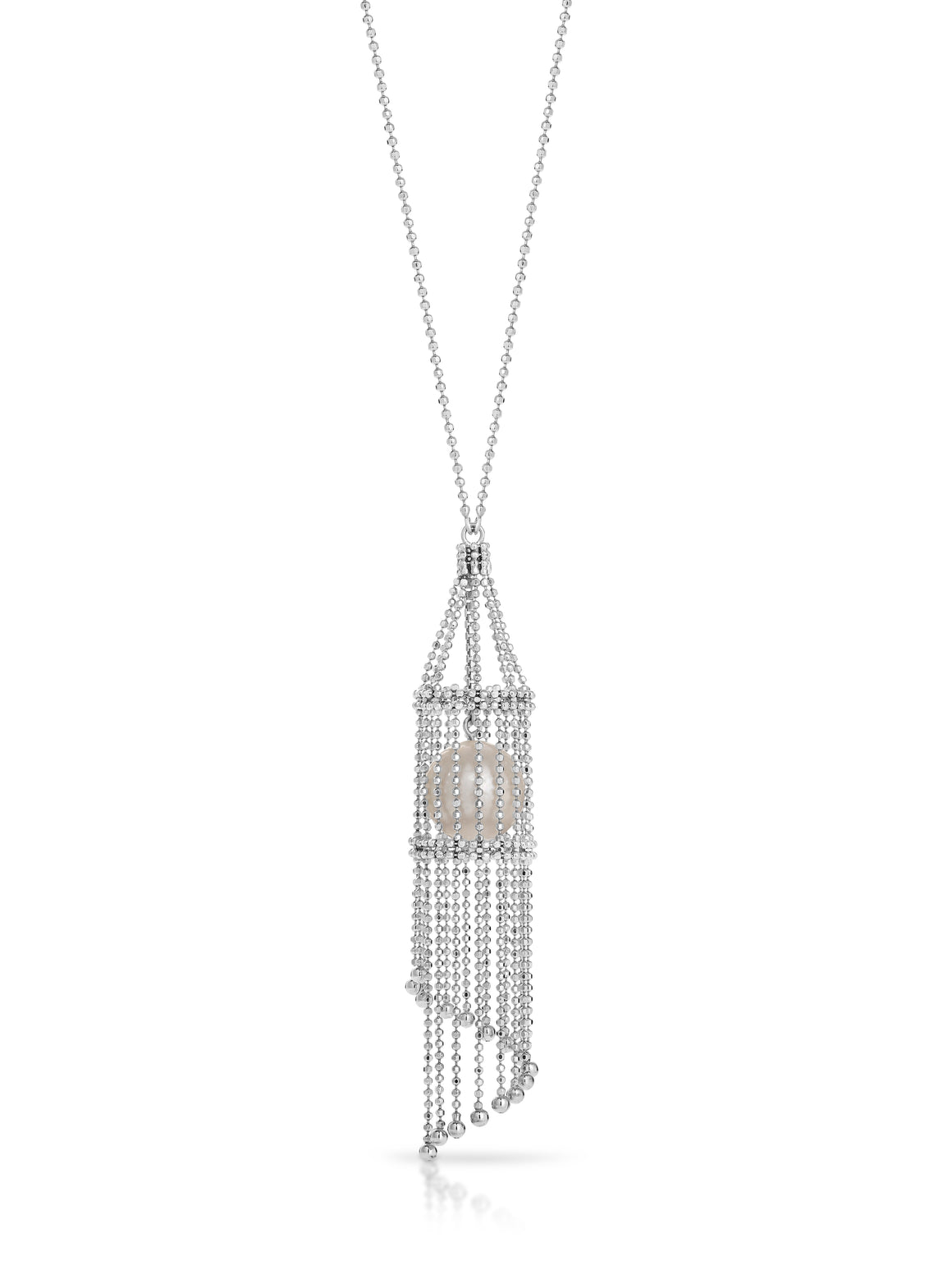 "The ""Lexi"" Silver and Pearl Basket Necklace - Gemma Stone  ABN:51 621 127 866"