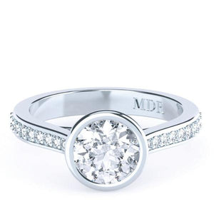 Brilliant Cut Diamond Bezel set 'Georgia' Ring with diamond band - Gemma Stone  ABN:51 621 127 866