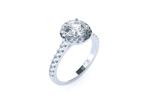 Engagement Ring 18k White Gold with 1ct Round Brilliant Cut Diamond Halo - Gemma Stone  ABN:51 621 127 866