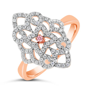 18ct Rose Gold Filigree & Pink Diamond Ring - Gemma Stone  ABN:51 621 127 866