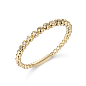 9CT Gold and Diamond Beaded Ring - Gemma Stone Jewellery