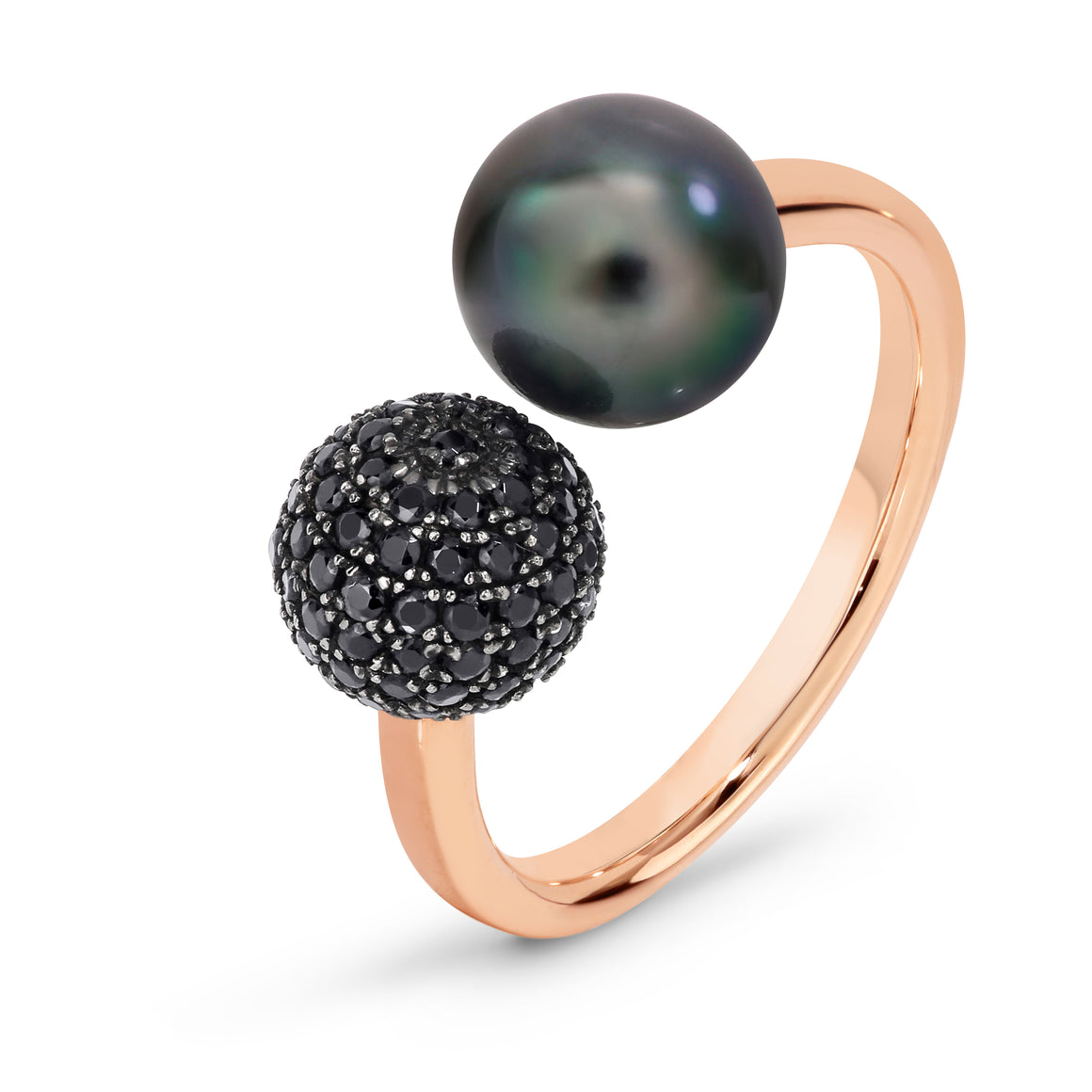 Tahitian Pearl & Black Diamond 'Emilie' Ring - Gemma Stone Jewellery