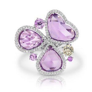Purple Amethyst Flower Ring - Gemma Stone Jewellery