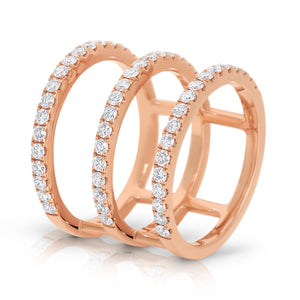 The 'Tryptique' Diamond Ring Rose Gold - Gemma Stone Jewellery