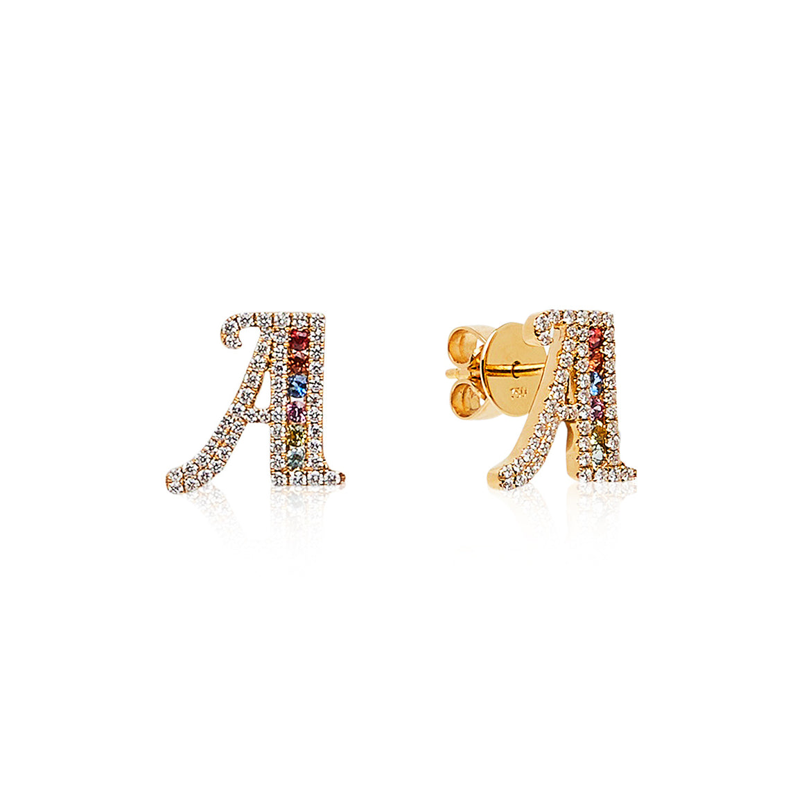 """Simbolo"" Collection Diamond & Sapphire Letter Studs - Gemma Stone Jewellery"