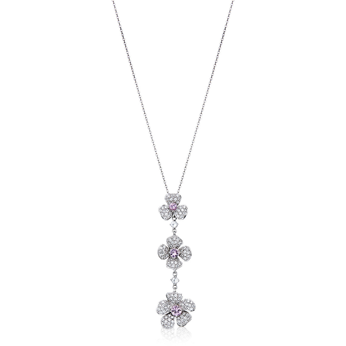 Spring Flower Sapphire and Diamond Necklace