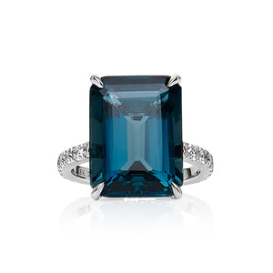 London Blue Topaz & Diamond 'Sarina' Ring - Gemma Stone  ABN:51 621 127 866
